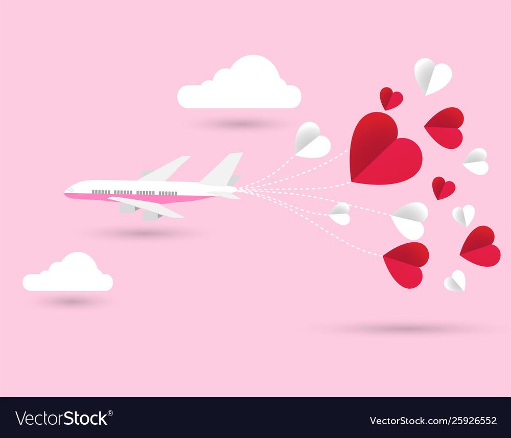 Love invitation card valentines day airplane