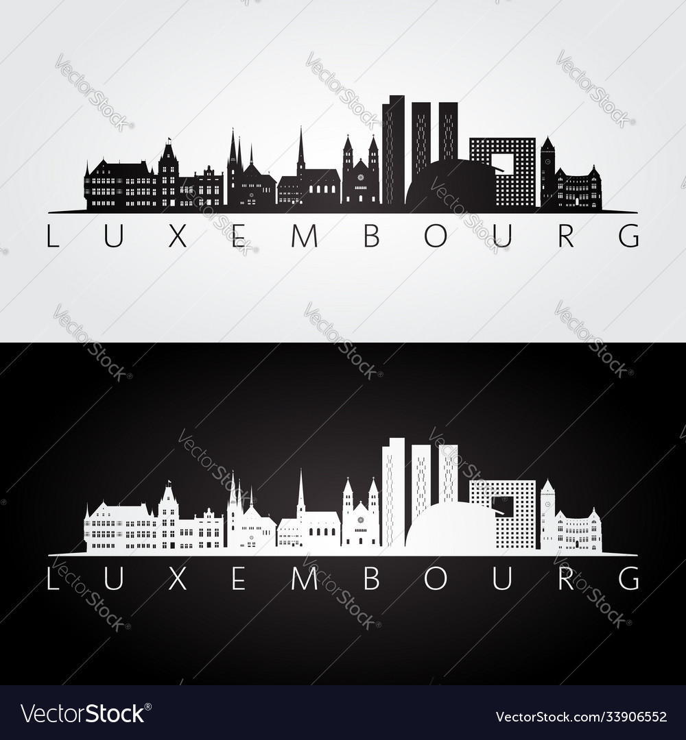 Luxembourg skyline and landmarks silhouette vector