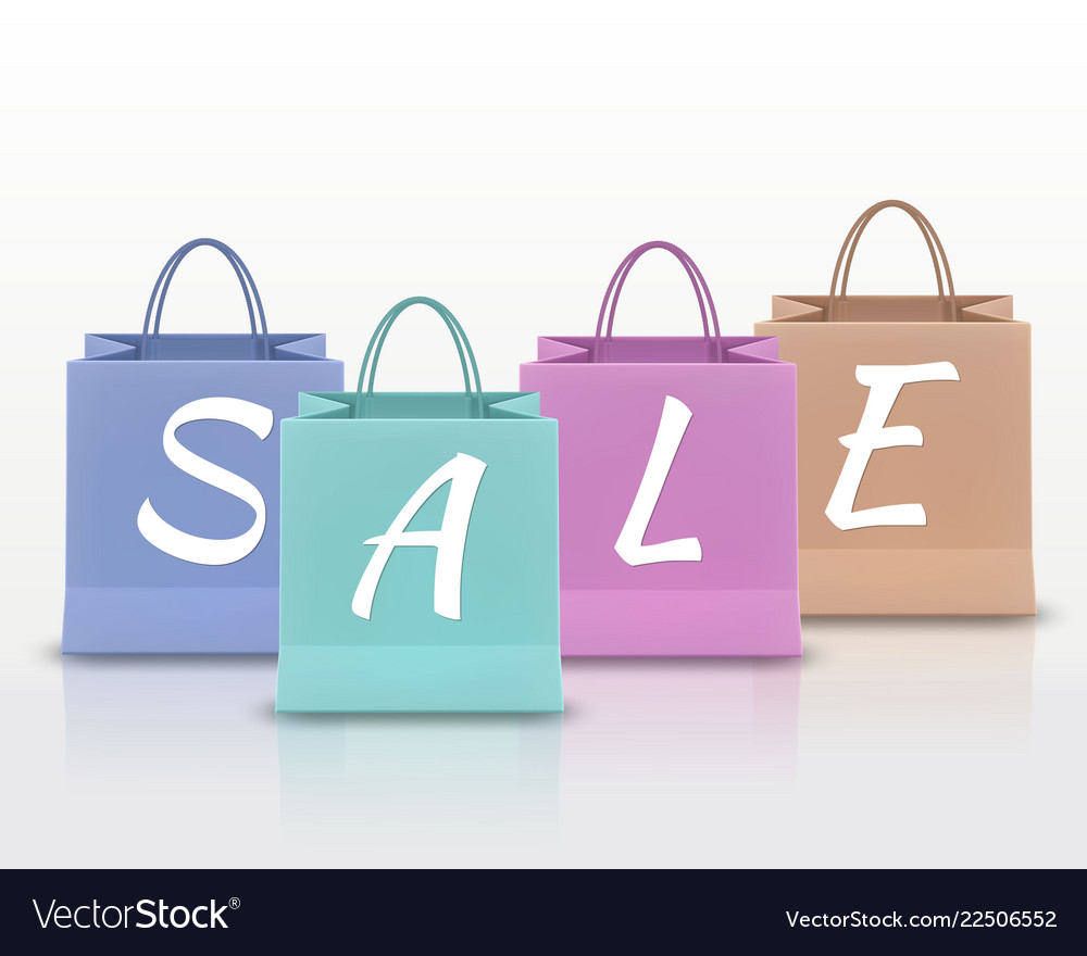 Sale paper shopping bag with handles set isolated