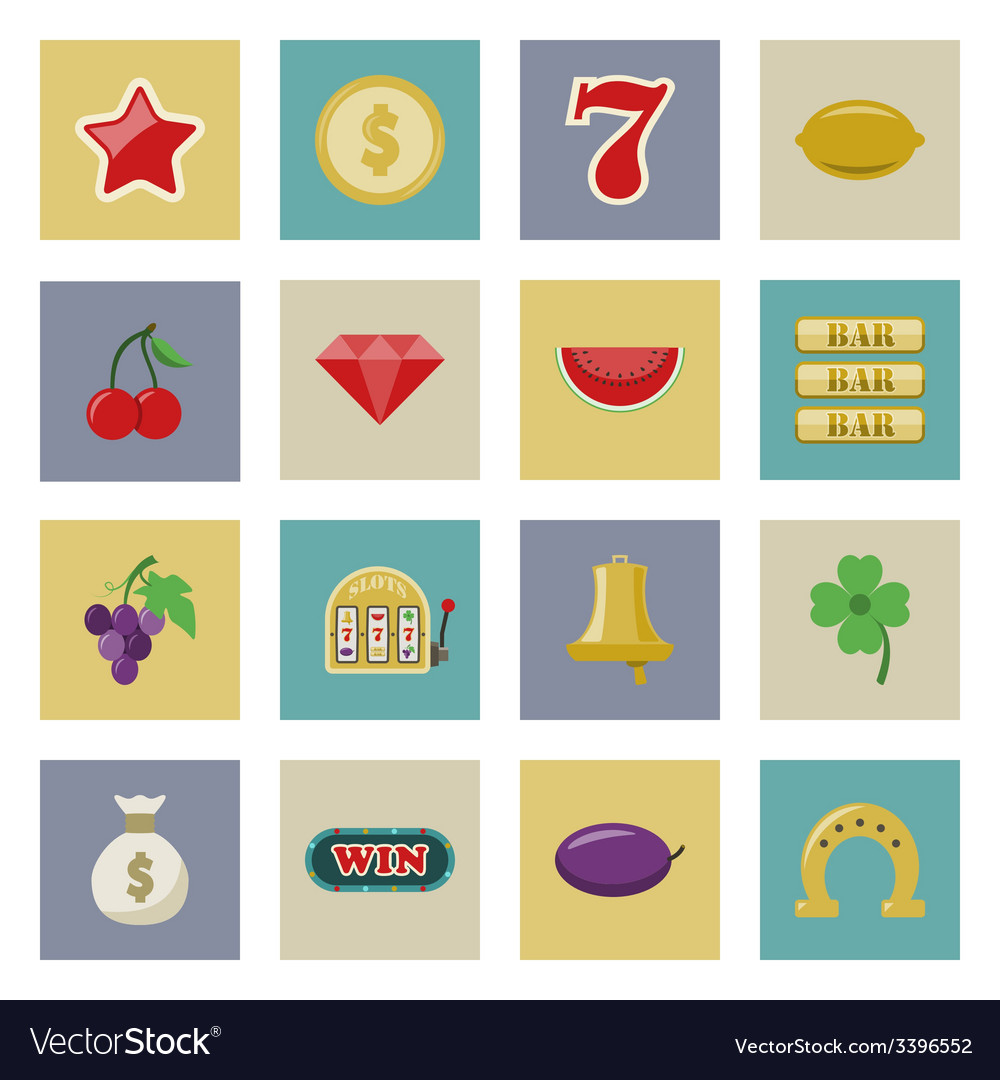 Slot machine and gambling flat icon set vector image