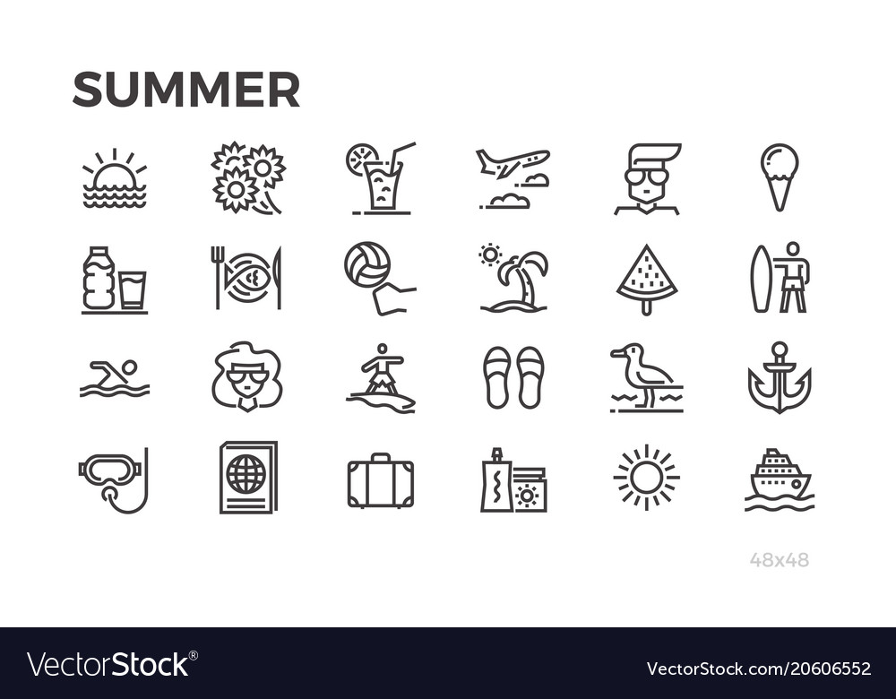 Summer vacation icons sun sea tourism and