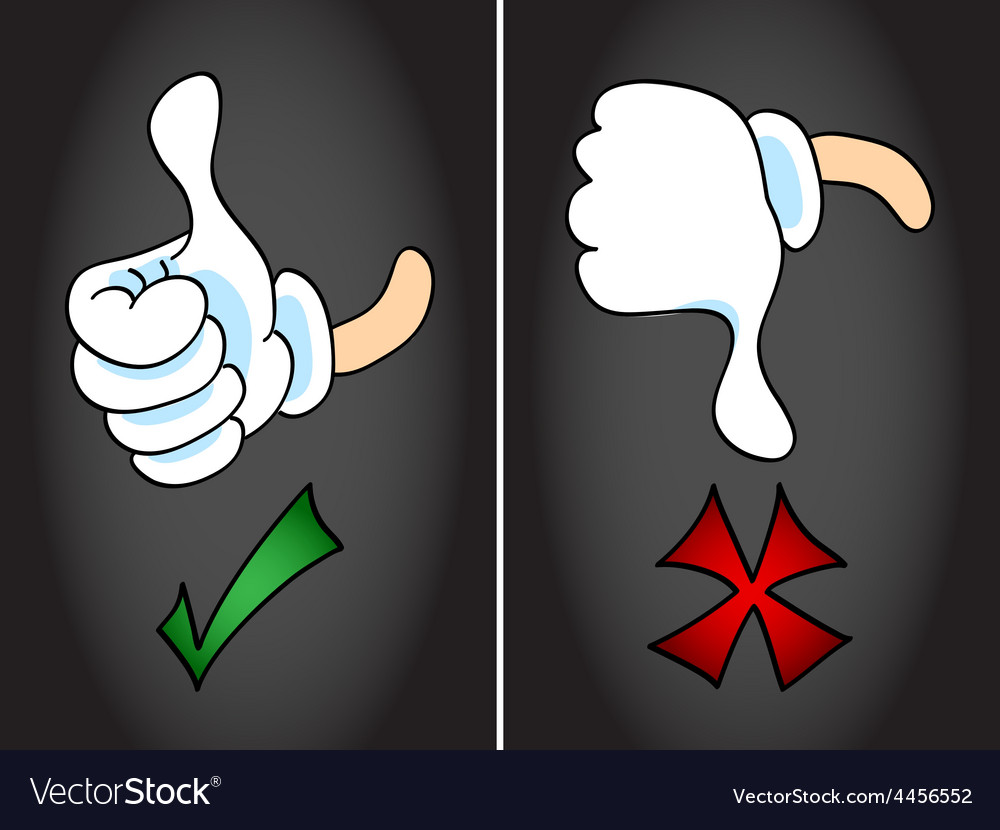 Thumb up and thumb down symbol vector image
