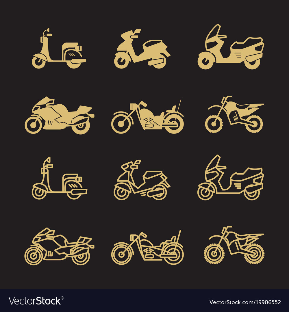 Vintage motorbike and motorcycle icons set