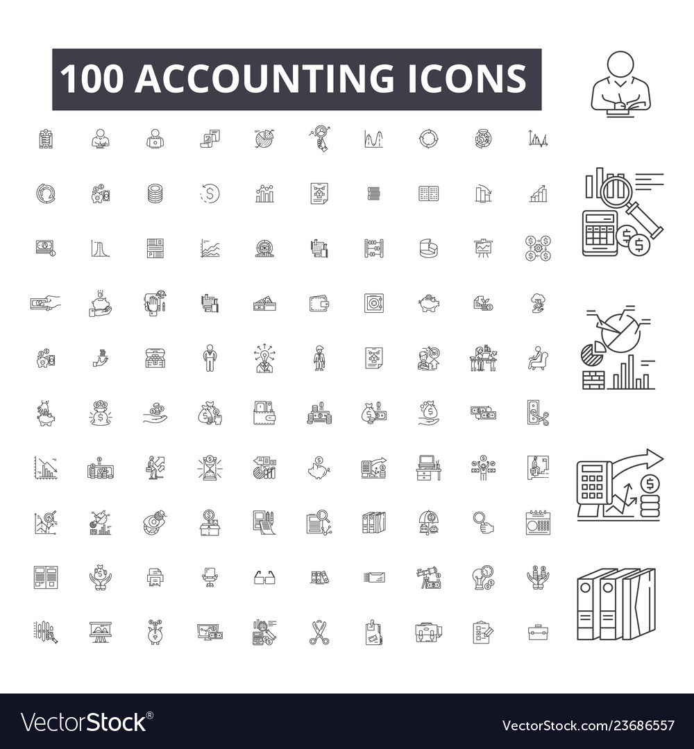 Accounting editable line icons 100 set on