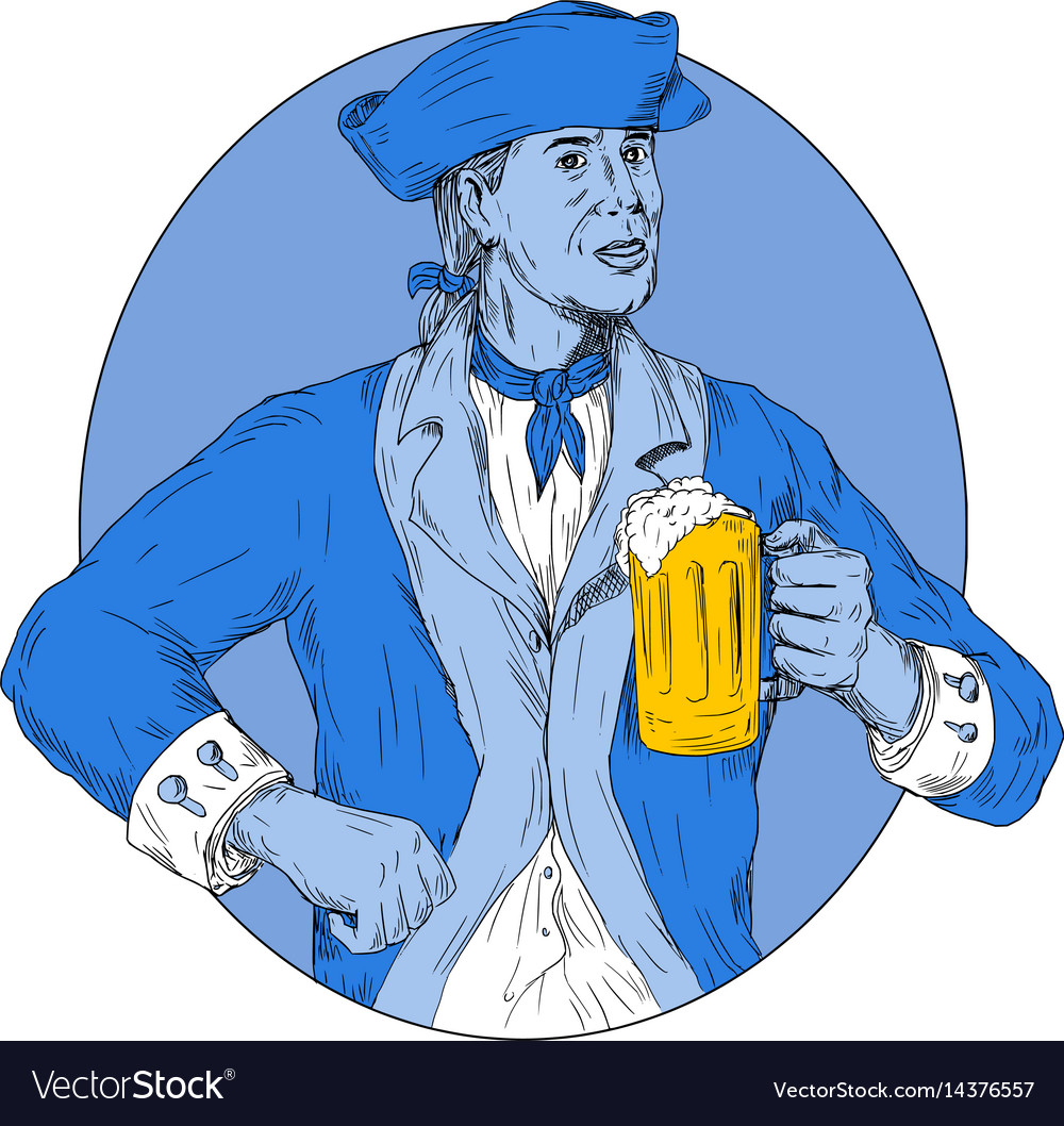 American patriot holding beer mug oval drawing vector image