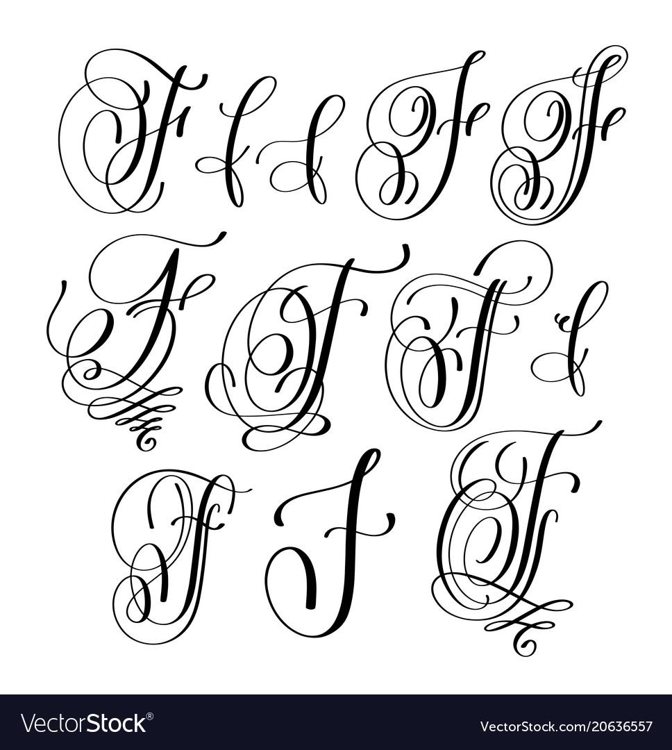 Calligraphy lettering script font f set hand