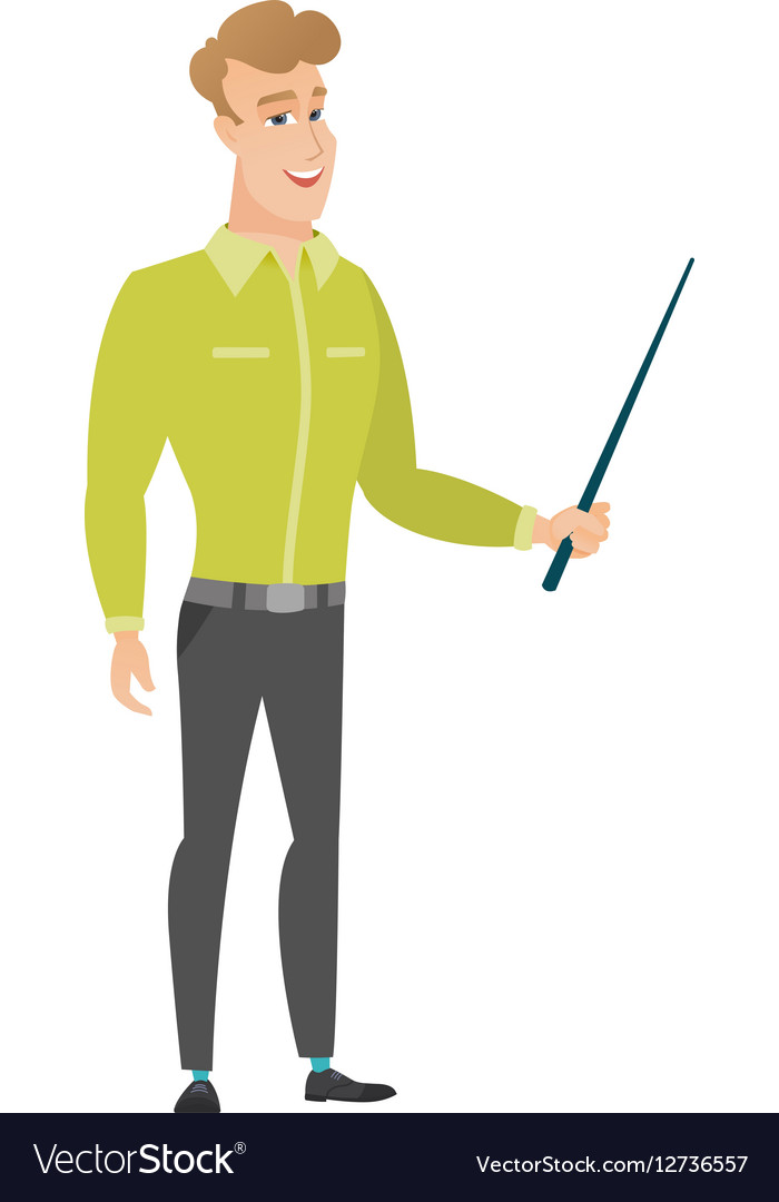 Caucasian business man holding pointer stick vector image