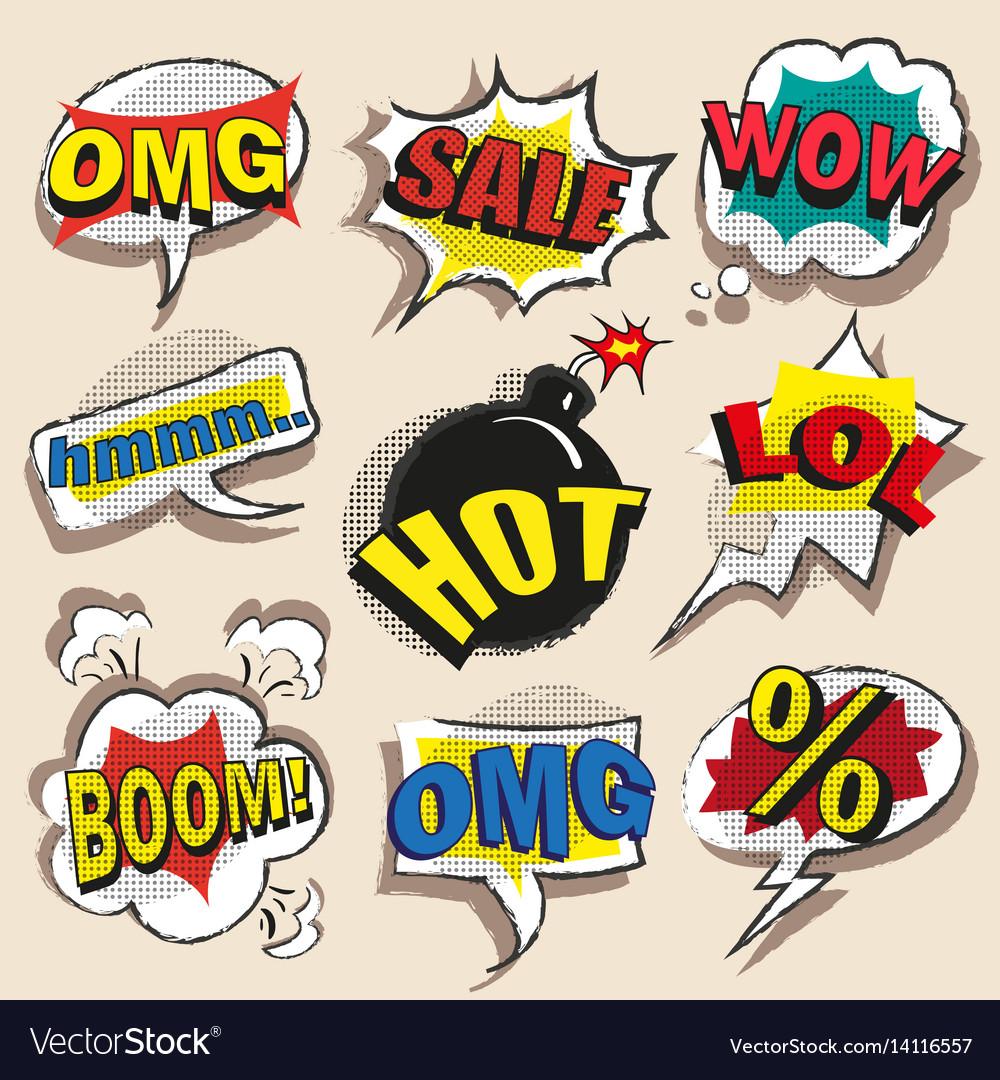 Pop art comic speech bubble set with