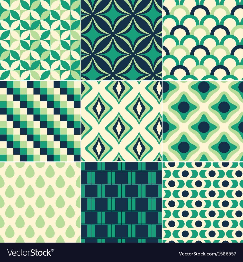 Seamless green retro pattern