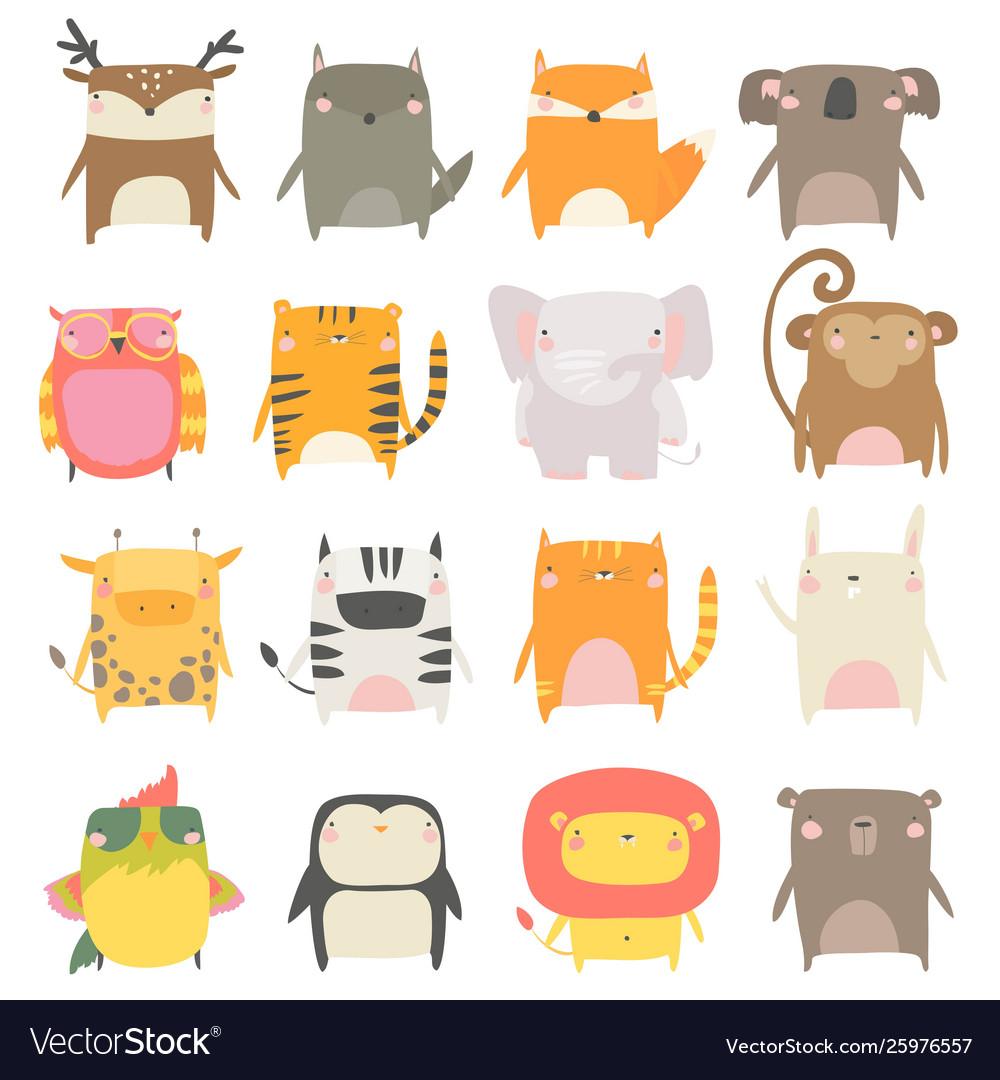 Set cute animals on white background