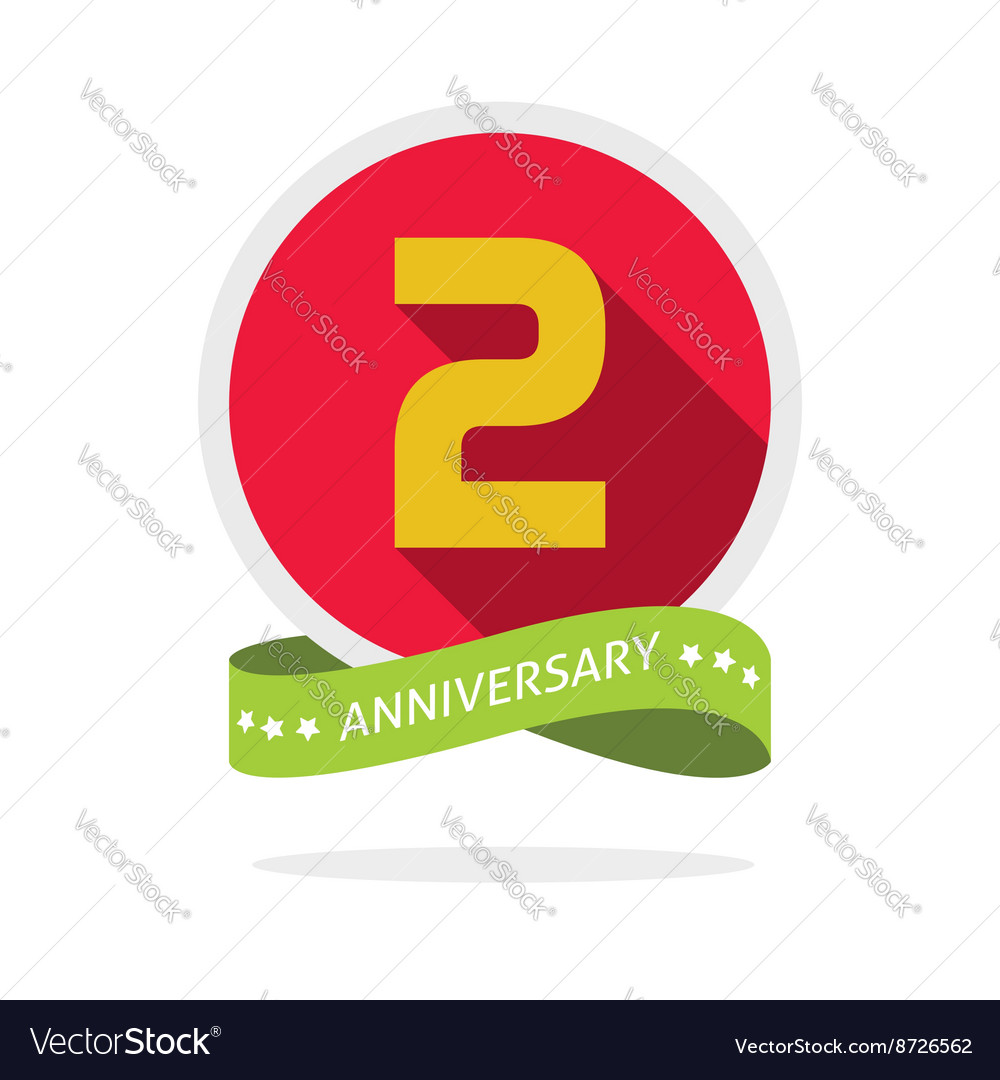 Anniversary 2nd logo template with a shadow on red