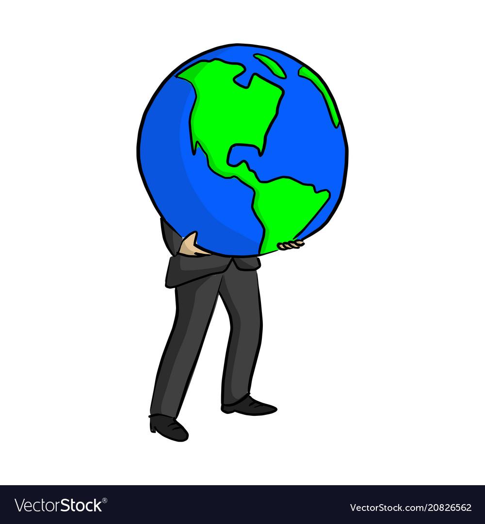 Businessman holding big blue planet earth