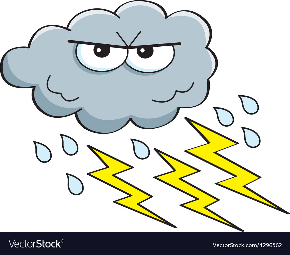 Cartoon rain cloud with lightning bolts
