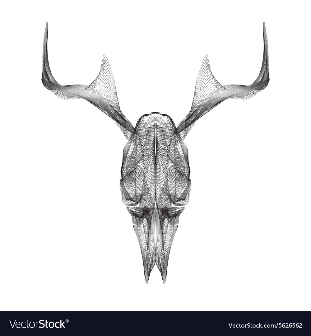 Deer skull 3d style for print tattoo t