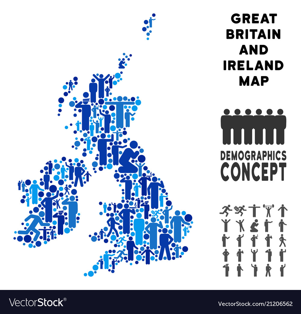 Britain And Ireland Map.Demographics Great Britain And Ireland Map Vector Image