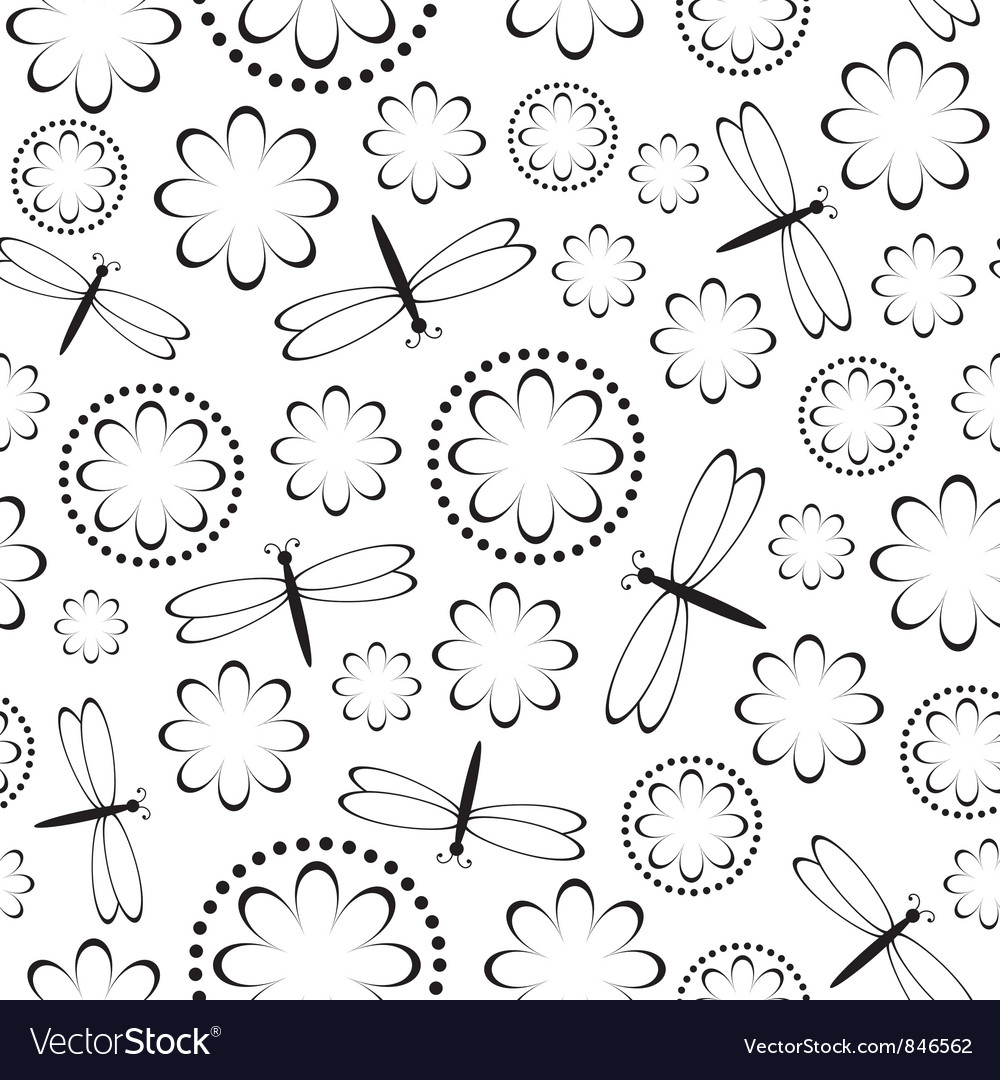 Flowers and dragonflies seamless vector image