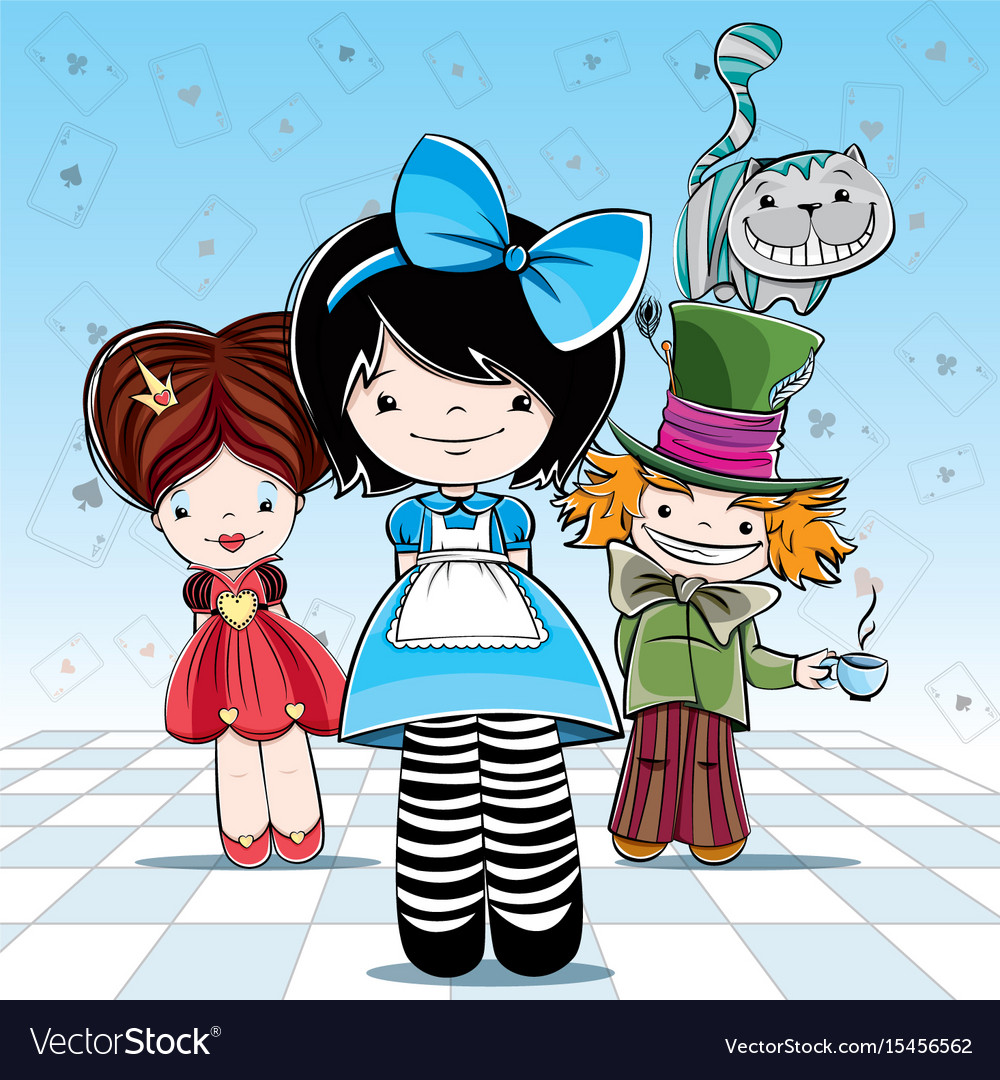 For card or party alice in wonderland vector image