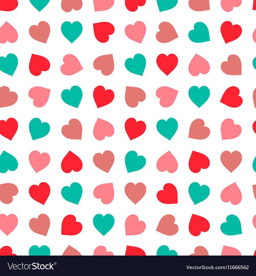 Hearts seamless pattern in pastel colors Hand