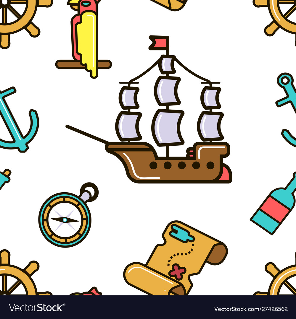 - Pirate Ship And Treasure Map Adventurous Kids Vector Image