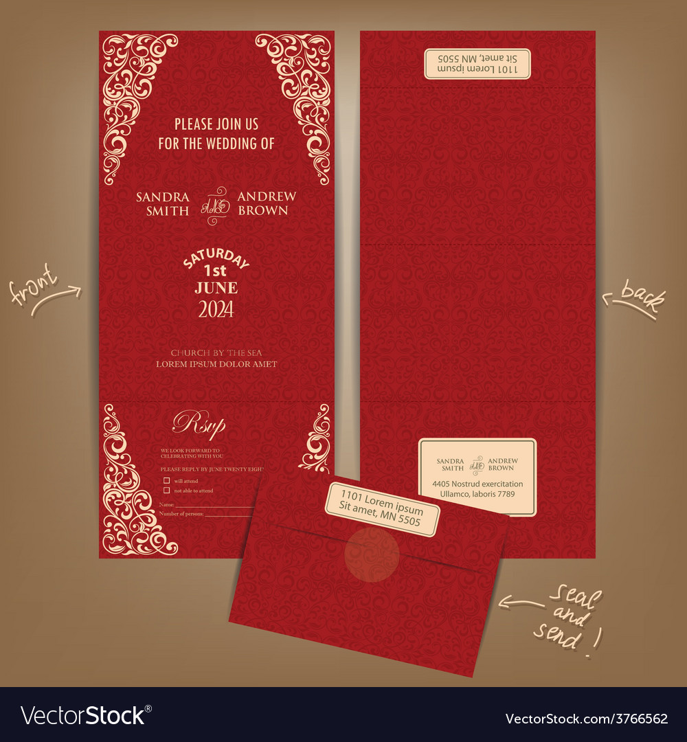 Seal and send wedding invitation card red Vector Image
