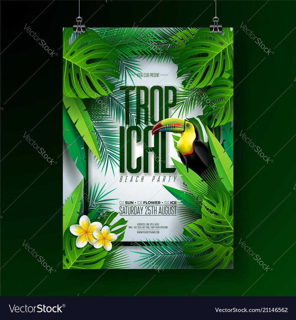 Summer tropical beach party flyer design