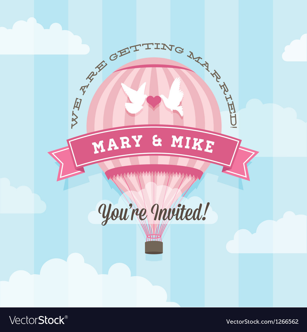 Wedding invitation with balloon vector image
