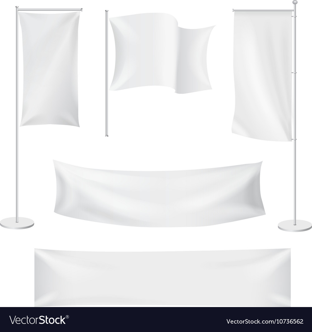White flags and textile banners folds