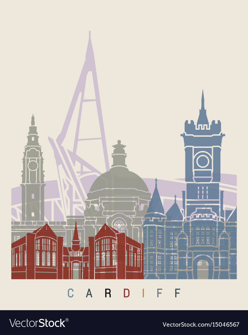Cardiff skyline poster