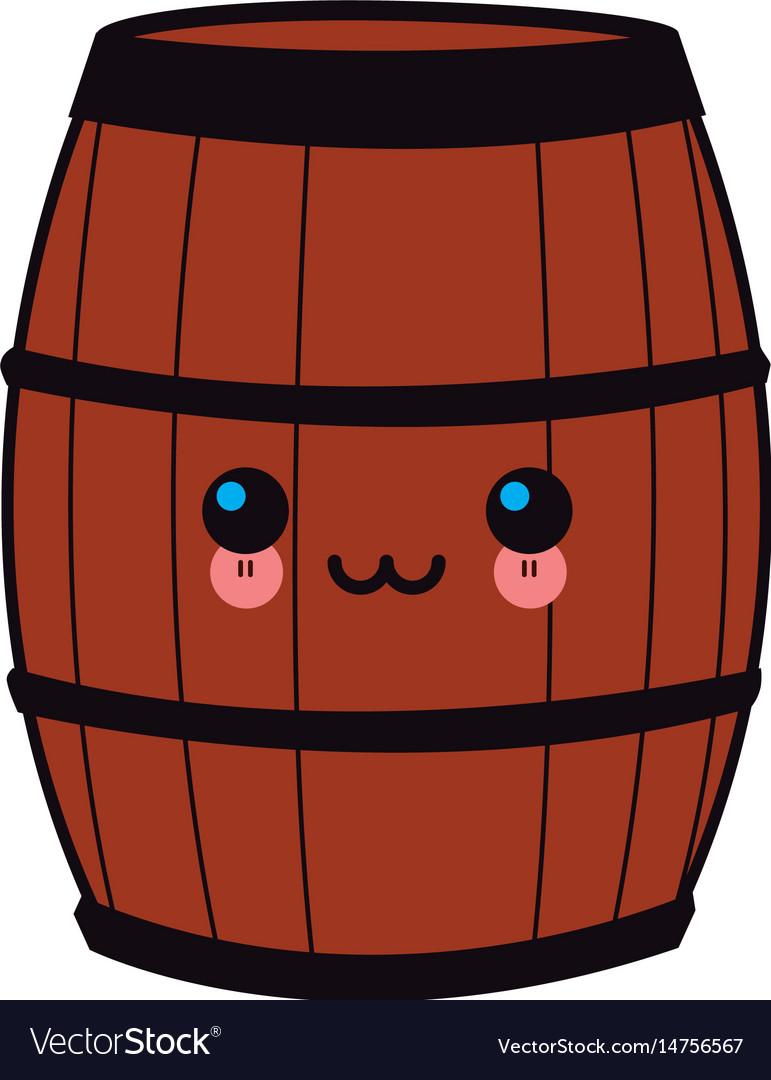 Cartoon wooden wine barrel
