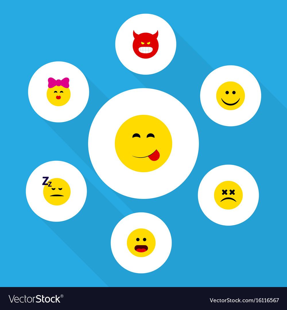 Flat icon emoji set of cross-eyed face wonder vector image