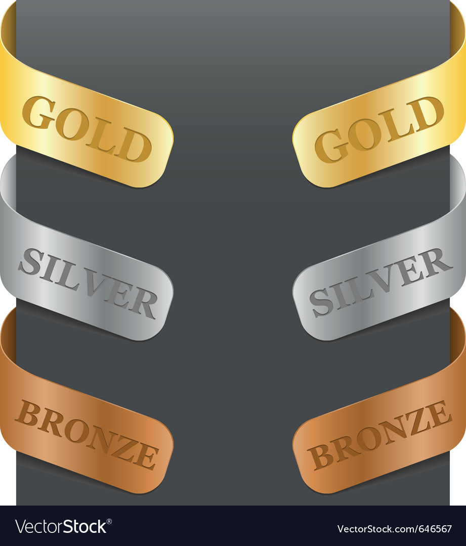 Left and right side signs - gold silver bronze