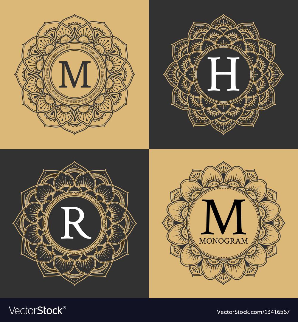 Monogram circle frame vintage luxury style