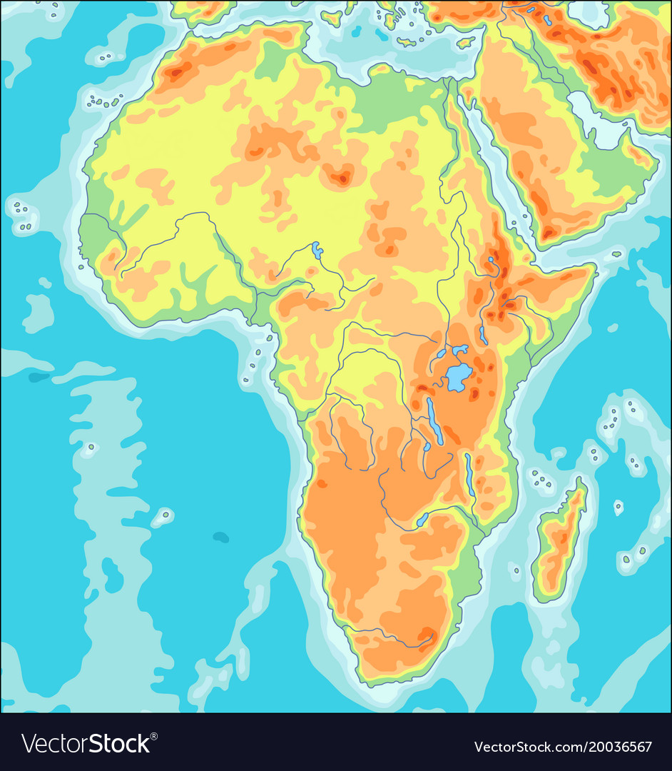 Physical africa map vector image