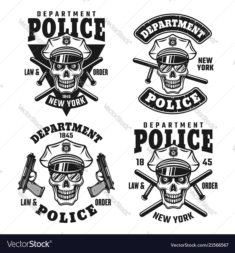 Police department emblems with skull