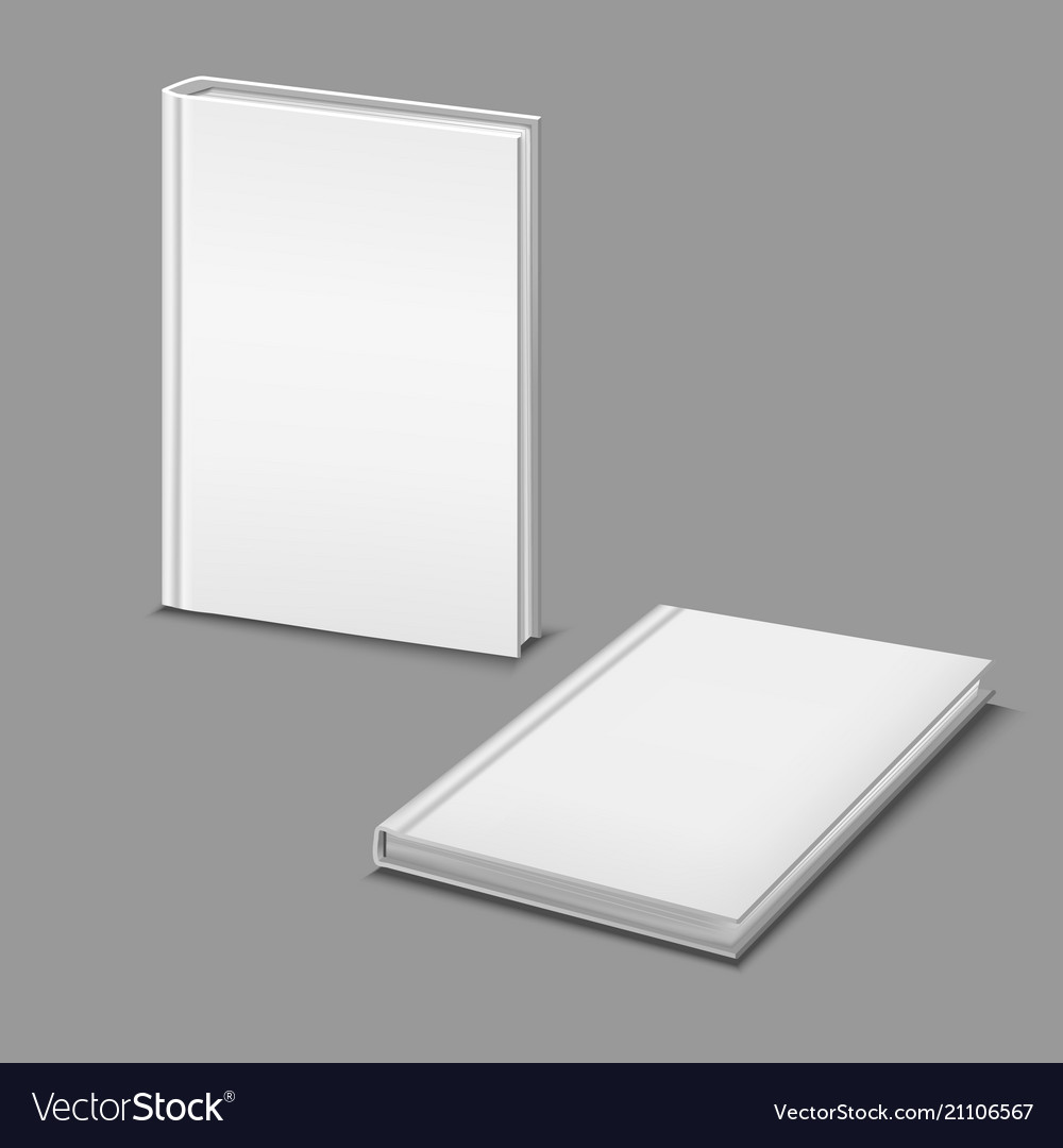 Realistic detailed 3d white blank hardcover books