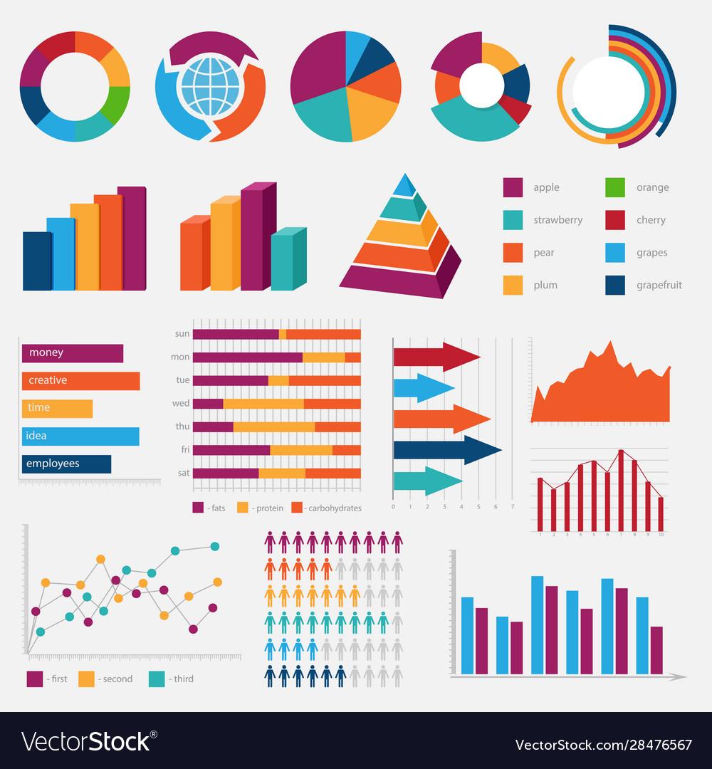 Set colorful diagrams and charts Royalty Free Vector Image