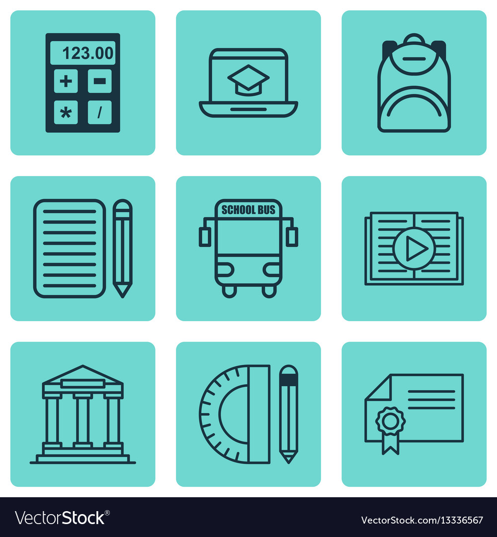 Set of 9 school icons includes electronic tool