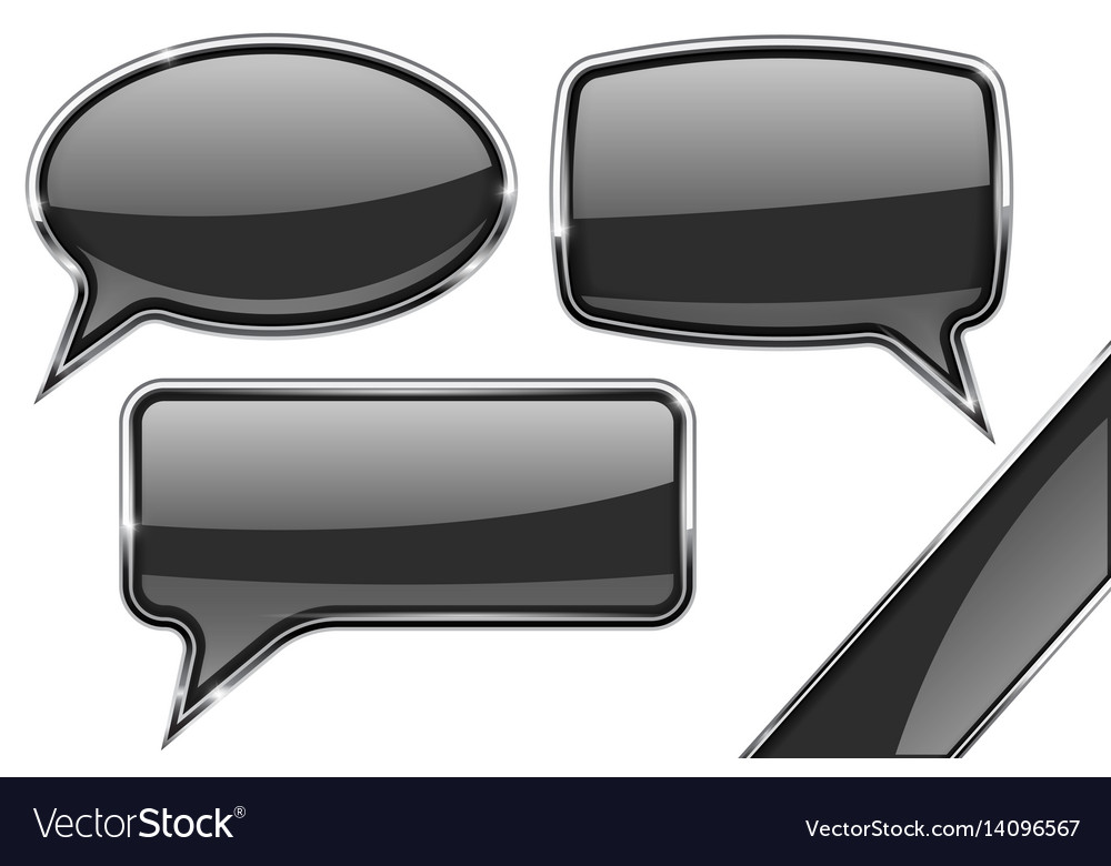 Speech bubbles set of black communication 3d