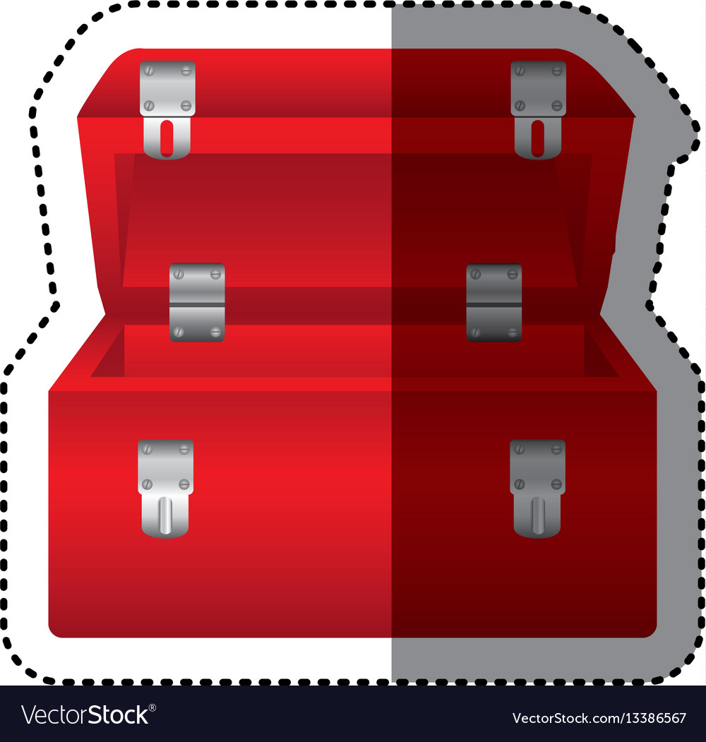 Sticker colorful red tool box