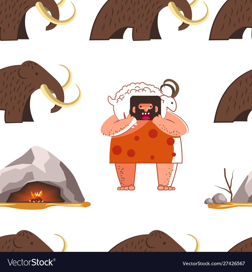 Stone age animal fur wearing caveman and mammoth