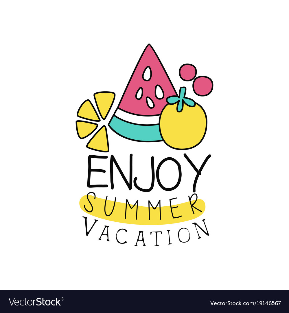 Summer Vacation Logo With Abstract Fruits Kids Vector Image