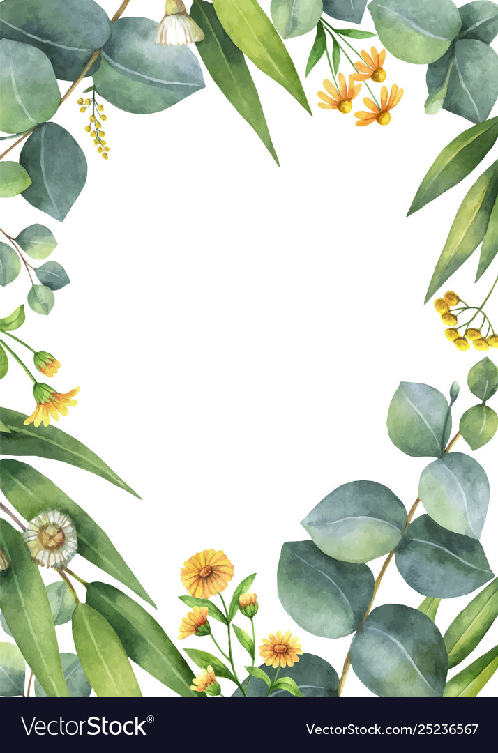 Watercolor card with green eucalyptus