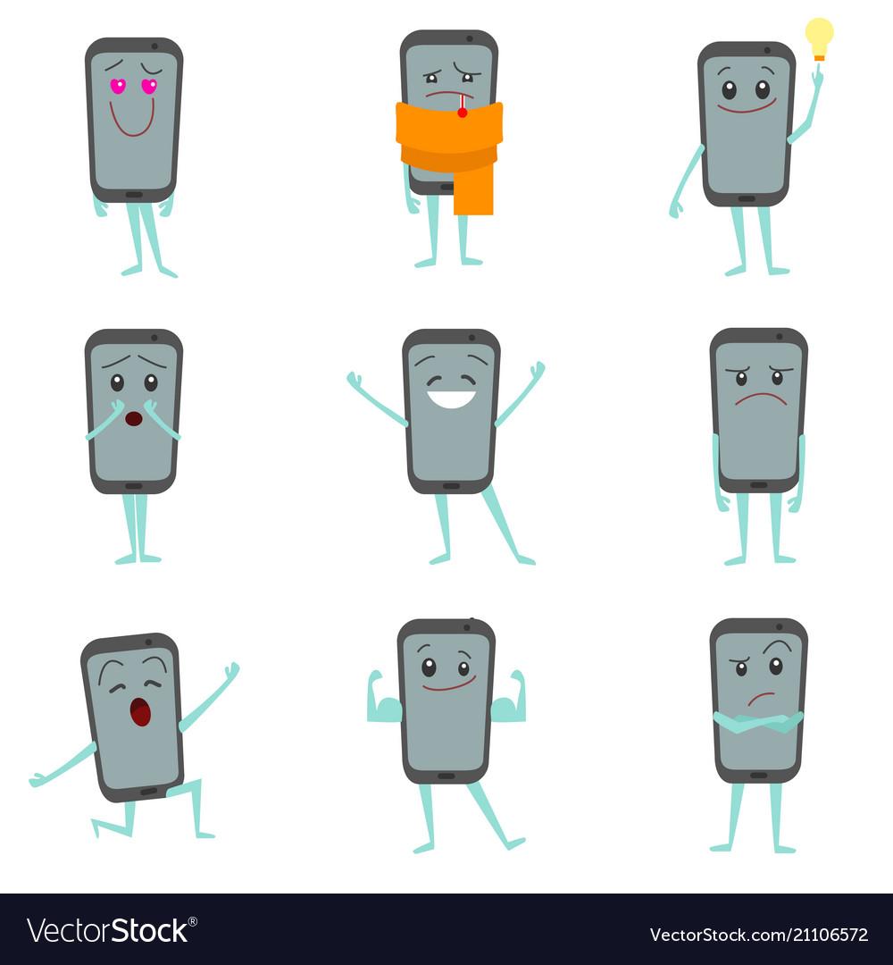 Cartoon characters smartphones set