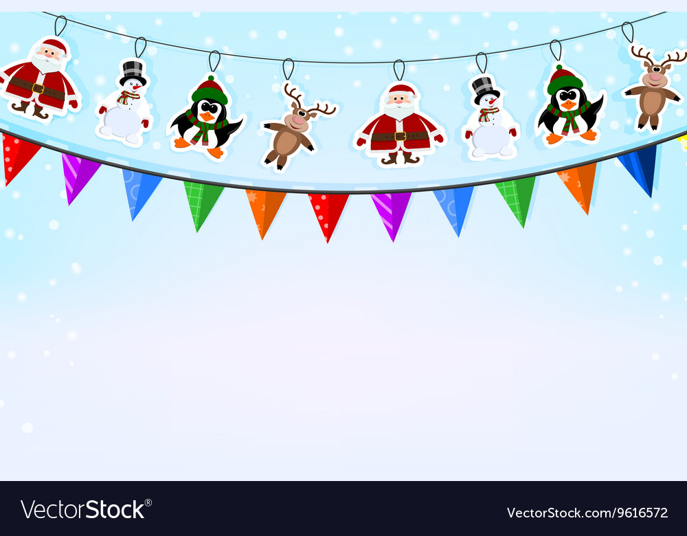 Christmas blue background with a garland of paper