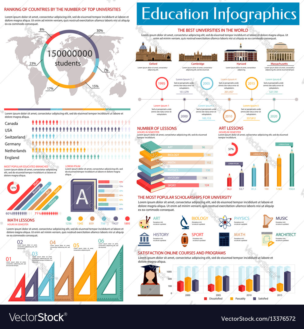 Education infographics design template flat style