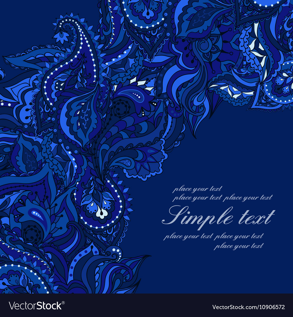 Elegant card with Indian paisley pattern Blue