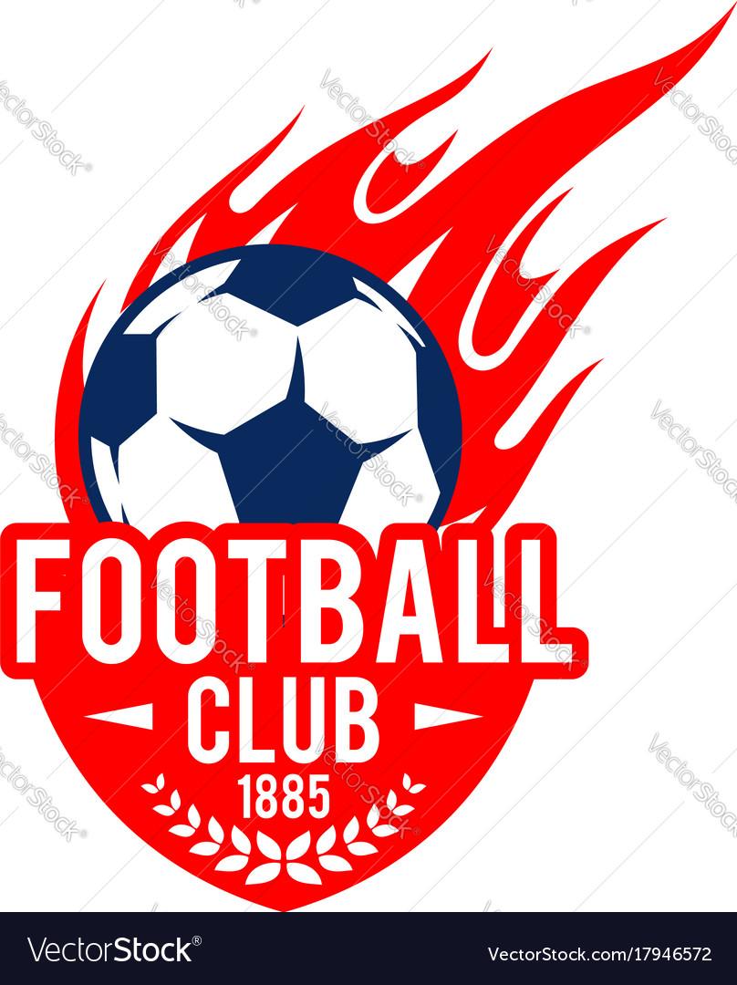 Football Soccer Club Badge Fire Ball Icon Vector Image
