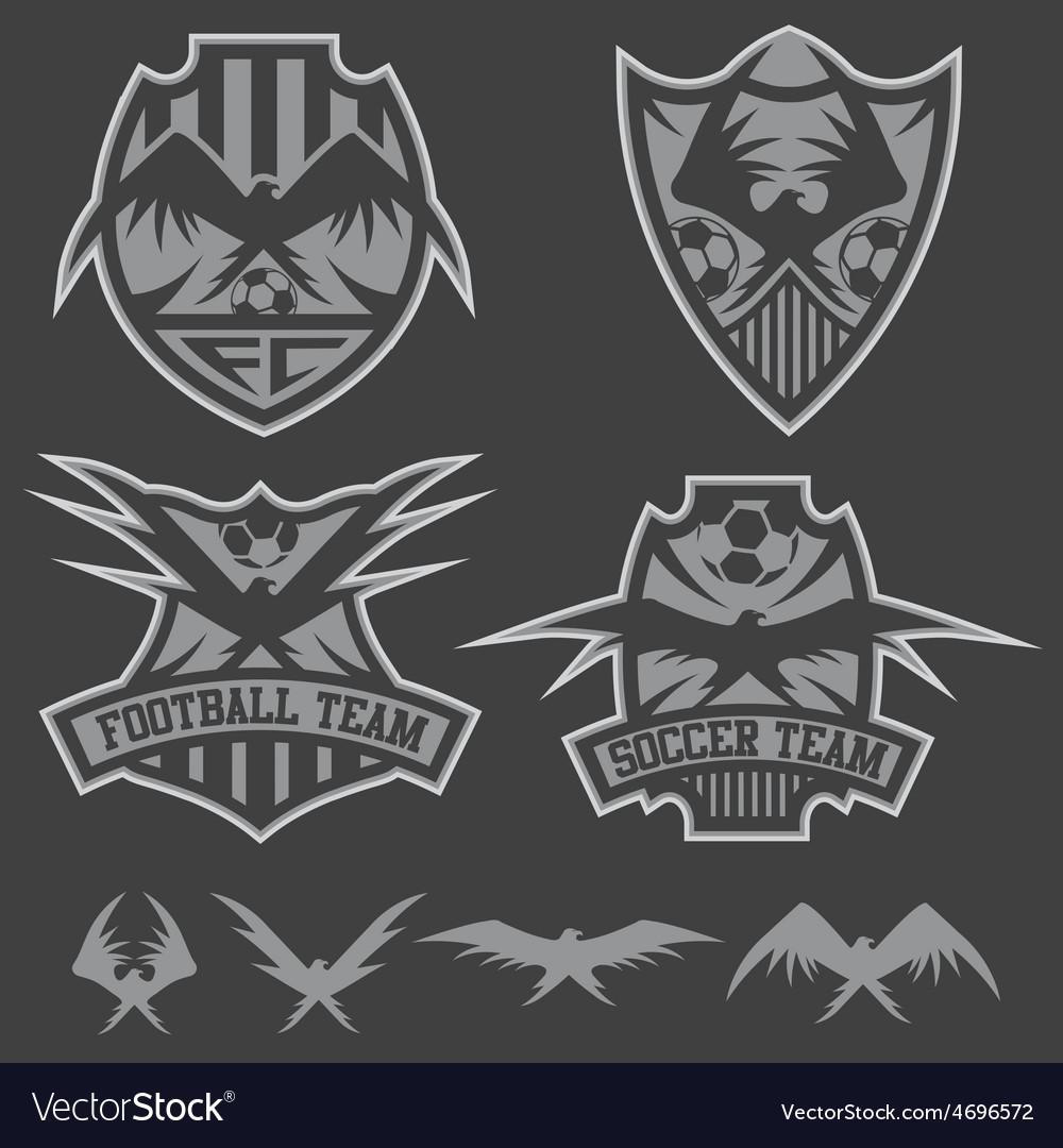 Football team crests set with eagles design