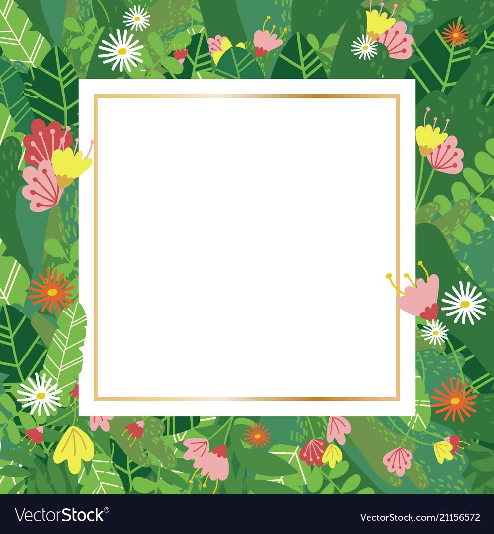Geometric botanical design frame