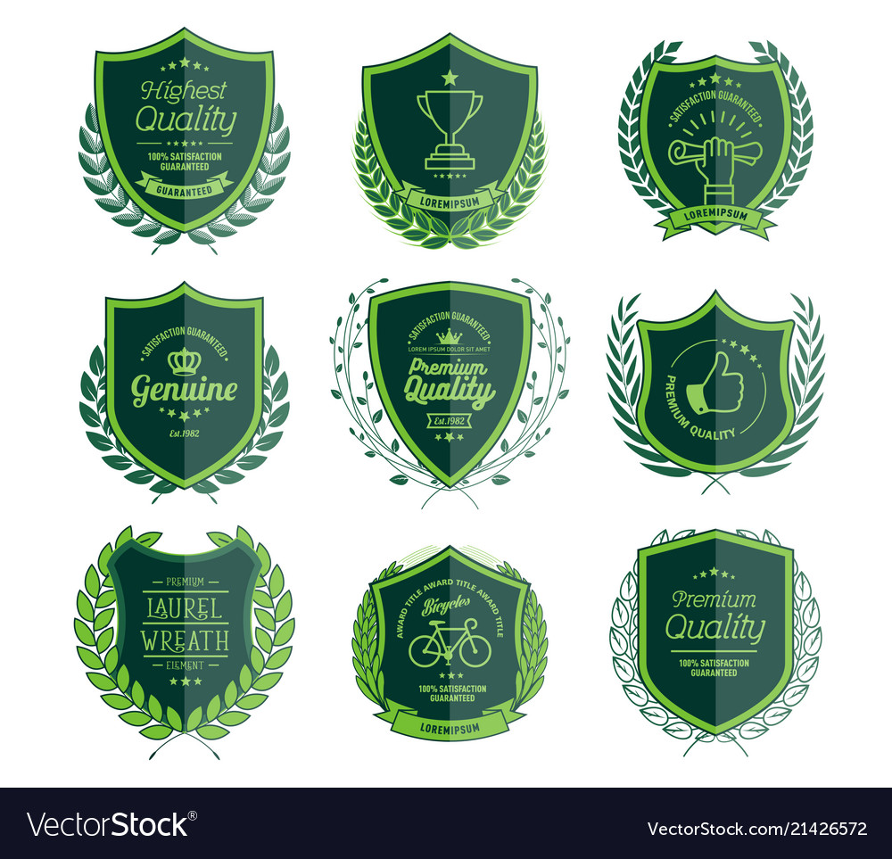 Luxury green badges laurel wreath templates